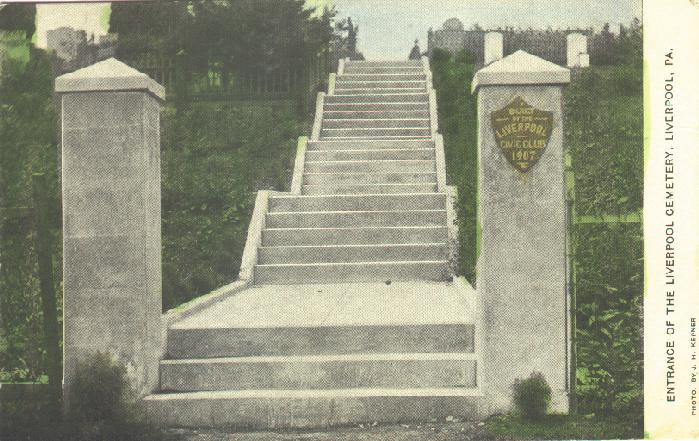 Entrance and steps to the Liverpool Cemetery